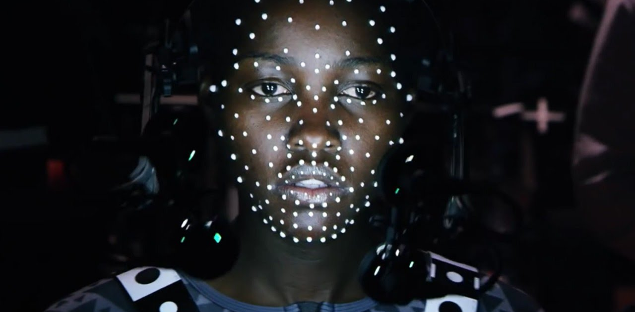 Lupita Nyong'o nas gravações de Star Wars - The Force Awakens.